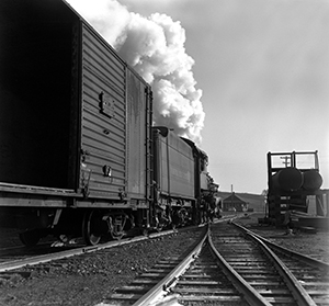 No. 6 leads a freight East out of Piney River, 1953